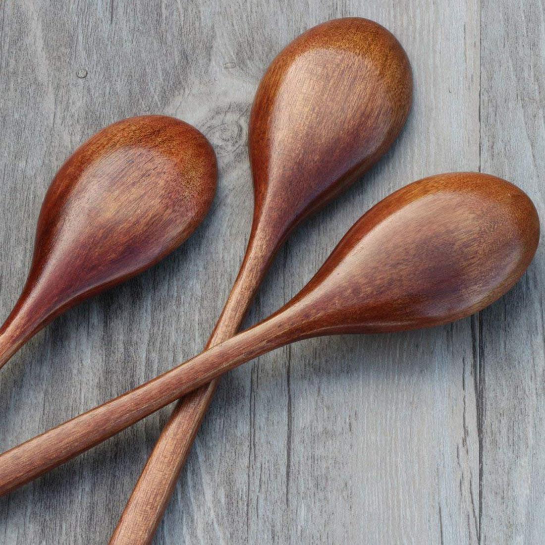 5 Stück Holz Löffel Kochen Rühren Essen Küche Japanischen Stil Kleine Löffe